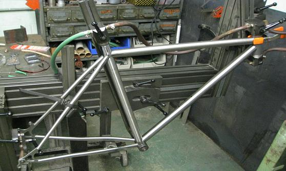a students frame in welding jig