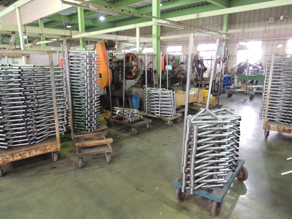 front triangles stacked at steel frame factory